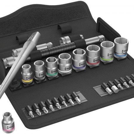"Комплект 29 броя Wera 8100 SB 8  Zyklop Metal тресчотка, адаптор, вложки и накрайници на 3/8"""