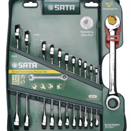 Звездогаечни ключове с двойна тресчотка комплект - 12 бр.