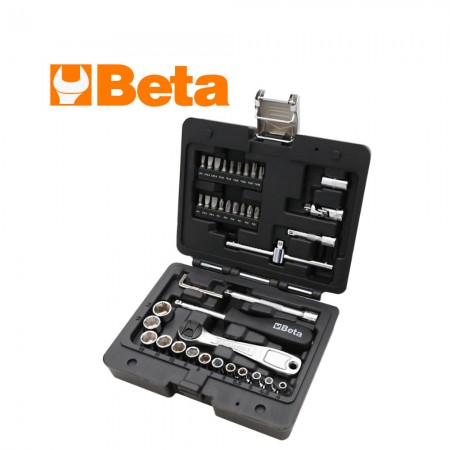 """Комплект Beta 903E/C42 тресчотка, ръкохватка, вложки и накрайници на 1/4"""" - 42 части"""