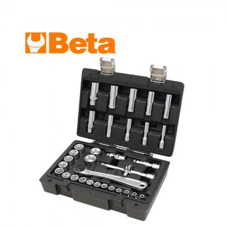 """Комплект Beta 913E/C33 тресчотка, вложки и аксосоари на 3/8"""" - 33 части"""