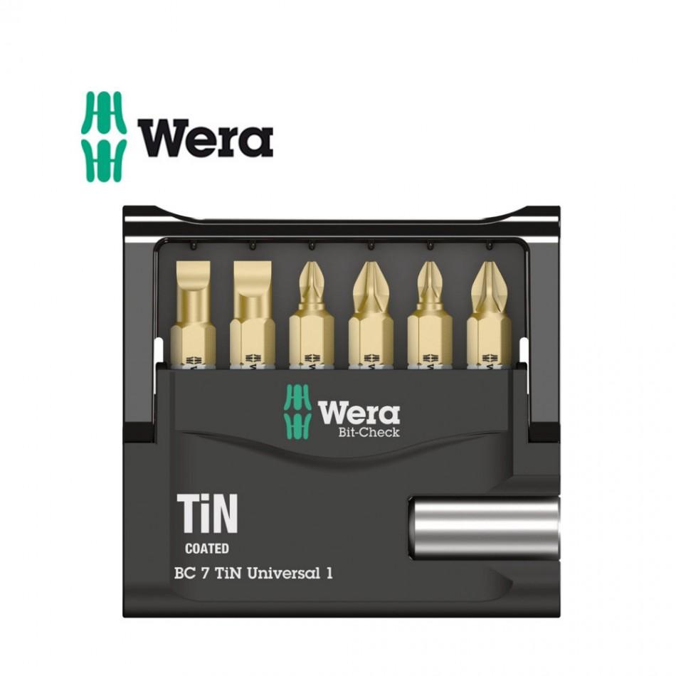 Комплект Wera Mini-Check TiN SB - 6 бр накрайници с държач