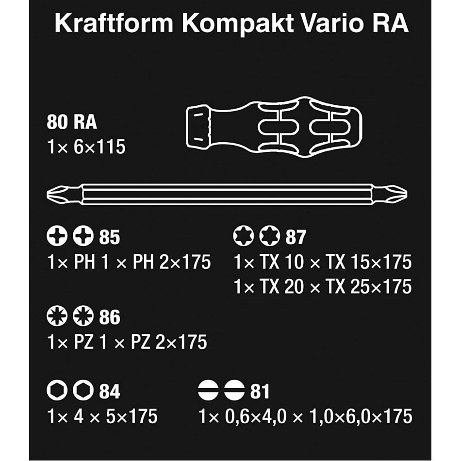 Комплект Wera KK Vario 80RA 6 бр двустранни накрайници и ръкохватка с тресчотка